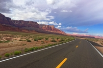 Driving by the Vermillion Cliffs in Arizona