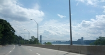 Driving down A Henry Hudson Parkway towards George Washington Bridge NYC July
