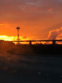 Driving in Seattle at sunset   x