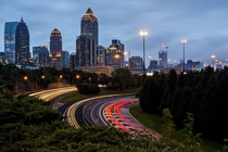 Driving through Atlanta on a cloudy night