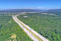 Drone photo my dad took of I- heading West into Harrisburg PA
