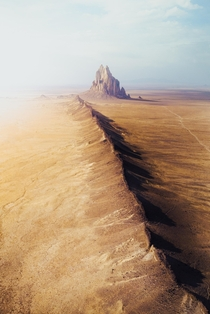Drone shot of Shiprock In New Mexico