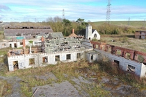 Drone shot of the abandoned boys village near Barry Wales