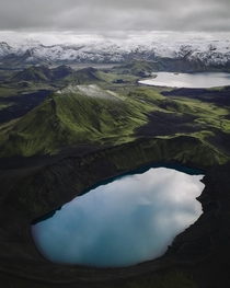 Drones high above the Highlands of Iceland