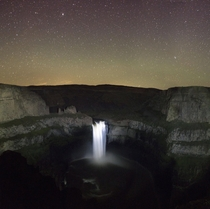 Drove all afternoon and nearly froze to see the stars over Palouse Waterfall WA