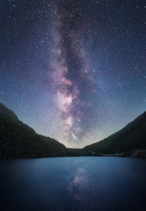 Drove  hours and impatiently waited until AM for the milky way to make its appearance over Cascade Lake Adirondacks NY