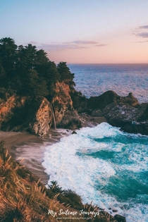 Drove  hours from LA just to witness this beautiful sunset at McWay Falls in Julia Pfeiffer Burns State Park USA  IG mysuitcasejourneys