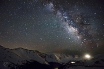 Drove through rain and snow to the top of a mountain pass to see the Milky Way Loveland Pass Colorado
