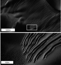 Dry ice carving down slopes might be whats making tracks in Mars dunes
