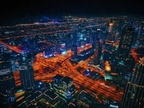 Dubai by night Taken from the top of the Burj Khalifa on a Huwaei P Pro
