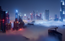 Dubai UAE in the Clouds at Night
