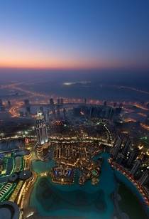 Dubai View from the Burj Khalifa at dusk