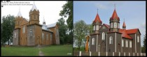 Dubiiai St Jesus Christ hearts church Lithuania before and after restoration works