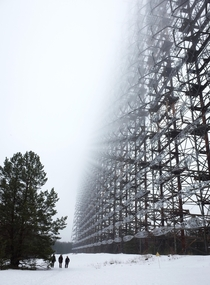 Duga in the fog a huge abandoned OTH radar next to Pripyat in the Chernobyl Exclusion Zone Some humans for scale