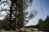 Duga- Radar - Chernobyl Massive radar station in the abandoned forrests of Chernobyl stretching almost  meters wide and  meters in height abandoned since