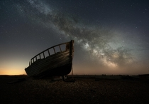 Dungeness fishing boat Astro photography  images stacked of the sky and a  minute long exposure for the foreground Stacked in starry landscape stacker and edited in photoshop and Lightroom