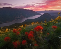 Dusk on the Columbia River Gorge Washington  photo by John Williams
