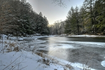 Dusk setting in on the icy banks of Loyalsock Creek - Dushore Pa