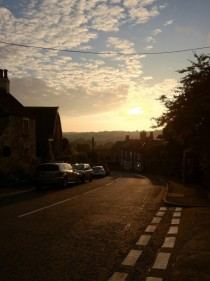 Dying embers of summer over Norton St Philip Somerset