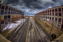 E Grand Boulevard and the Remains of the Packard Plant Detroit  by Jason Feeny