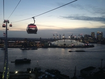Early Evening view of London Docklands and The O Millennium Dome from Emirates Cable Car oc  x