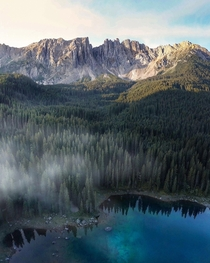 Early morning at Lago di Carezza in the Dolomites
