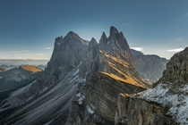 Early morning at Seceda in the Italian Dolomites  Photograph by Andy Lehner