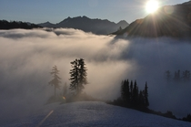 Early morning fog in the North Cascades  OC