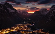 Early morning light over the town of Sunndalsra Norway