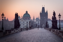 Early morning on the Charles Bridge in Prague  By Paula Goff