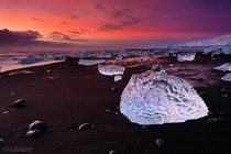 Early morning on the shores of Breiamerkursandur Iceland The ice almost looks carved by hand  photo by Ilia Shalamaev