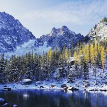 Early snow on Colchuck Peak the Enchantments WA