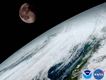 Earth amp Moon as pictured by GOES- launched as GOES-R from geostationary orbit