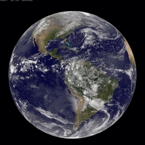 Earth as seen this morning  aka Earth Day by NOAAs GOES-East satellite at  am EDT  UTC