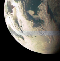 Earth from NASAs Juno spacecraft as it does a fly by to get a gravitational power-boost en route to Jupiter