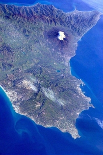 Eastern Sicily and Mount Etna are seen from the ISS pictured by Paolo Nespoli in