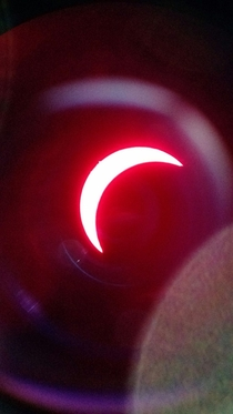 Eclipse seen through an H-alpha telescope