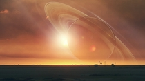 Eclipsed by Saturn Spacescape Wallpaper