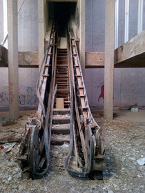 Eerie derelict escalator in Phoenixs Trotting Park Goodyear Arizona