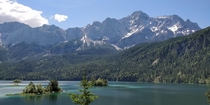 Eibsee in front of the highest mountain in Germany the Zugspitze