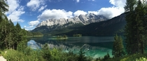 Eibsee Lake at the base of the Zugspitze mountain