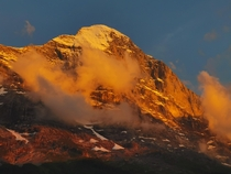 Eiger during sunset Grindelwald Switzerland