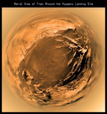 Eight years ago today a European probe landed on Titan here a fish-eye aerial view of Huygens landing site