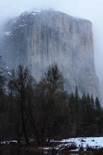 El Capitan coming through the clouds