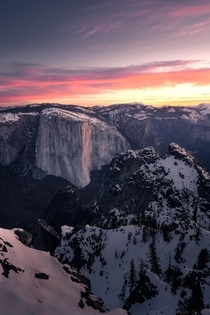 El Capitan From Above - my final sunrise from my snowshoe trip in Yosemite National Park