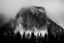 El Capitan in a foggy sunset yesterday