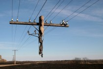 Electric pole hanging after a wild fire x-post rpics