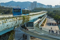 Elevated Bus Rapid Transit with elevated bikeway in Xiamen China