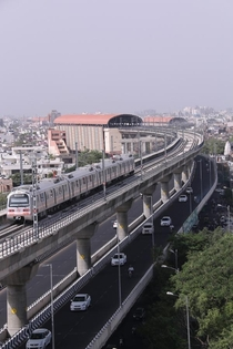 Elevated road and metro rail Jaipur India