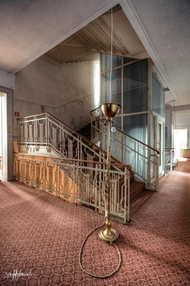 elevator in an abandoned hotel in Germany